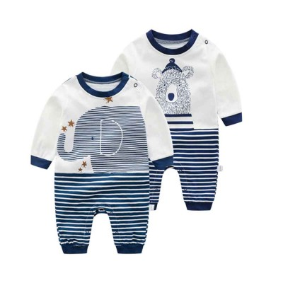 Long Sleeve Infant Romper Round Neck Baby Onesie With Bear Elephant Printing