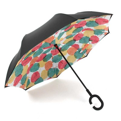 Reverse Double Layer Inverted Umbrella, Inside Out Umbrella With Strong Windproof and C Shape Handle