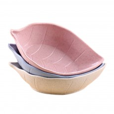 Sushi Soy Sauce Dish With Leaf Shape, Degradable Wheat Straw Sauce Bowl For Household Restaurant