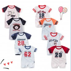 Short Sleeve Baseball Baby Romper, Skin-friendly Combed Cotton Baby Jumpsuit