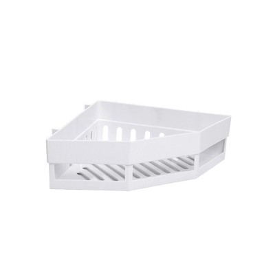 Plastic Storage Shelf Corner Triangle Holder, Bathroom Shelf Organizer Storage Kitchen Rack without Drilling