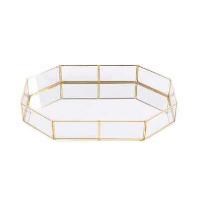 Nordic Style Glass Storage Tray for Small Jewelry and Cosmetics, Storage Salver with Golden Brass Frame
