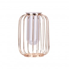 Luxury Nordic Style Vase with Wrought Iron Art, Lantern-shaped Holder with Glass Tube Inside