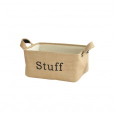 Pastoral Style Collapsible Storage Box with Leather Handle, Jute Thickening Organizer for Small Articles