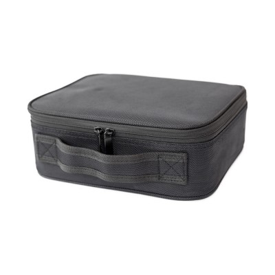 Portable Travel Cosmetics Bag, Black Storage Bag With Adjustable Dividers For Cosmetics, Makeup Brushes, Toiletry & Jewelry