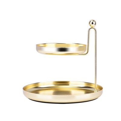 Double Storage Tray, Nordic Style Storage Plate with Double-layer, Golden Storage Tray for Small Articles in Table & Dresser