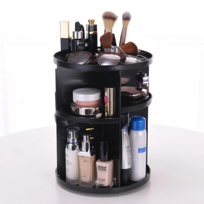 Plastic Cosmetics Case with 360 Degree Rotation, Storage Shelf for Skin Care Products