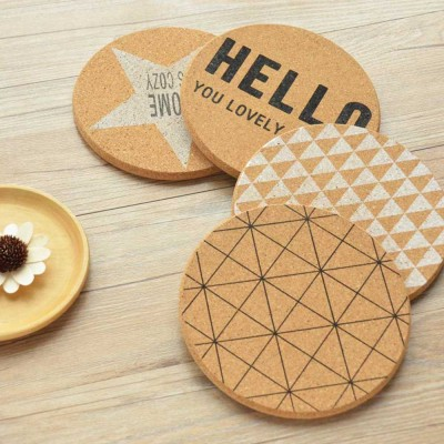 Nordic Cork Coaster with Round Edges, Cute Animal Cup Mat for Hot Pot, Cup & Bowl