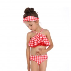 Red Plaid Swimsuit, Fashionable Bathing Suit for Women and Girls