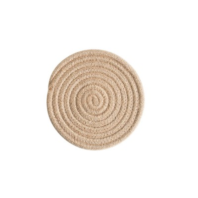 Handmade Cotton Coaster with Round Shape, Stylish Hot Pot Mat with Woven Rope for Kitchen, Office