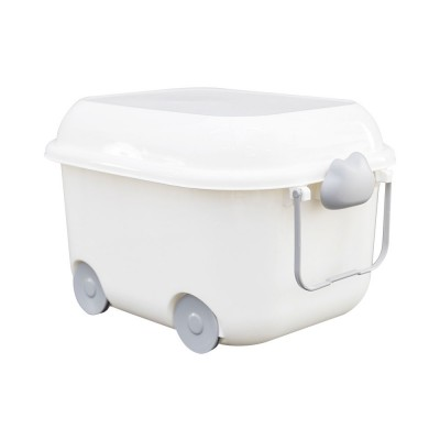 Plastic Stackable Storage Bins With Lids, Storage Box Container with Wheel For Kid's Toy, Clothes