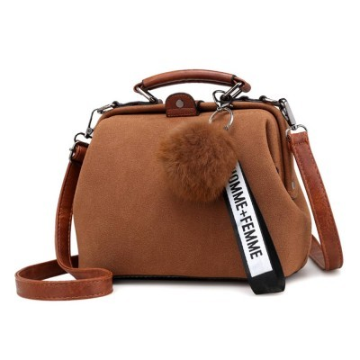 Frosted PU Leather Ladies Shoulder Bag, Tote Cross Bag Shoulder Satchel with Fluffy Ball Decoration