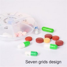 Small Weekly Pill Case, Round 7-Day Medicine Organizer With 7 Compartments