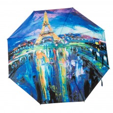 Eiffel Tower Umbrella, Triple Folded Umbrella With Sturdy Stainless Steel Rib and High Density Impact Cloth