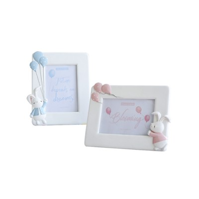 Cute Rabbit Picture Frame for Wedding or Anniversary Gift, Wall Hanging/Desktop Photo Texture Resin Frame