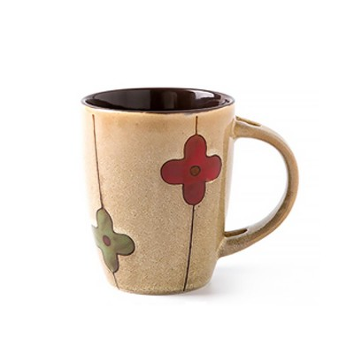 Stylish Retro Ceramic Mug with Spoon & Lid, Hand Painting Cup for Water, Coffee, Juice, Milk, Tea