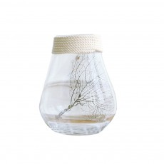 Transparent Glass Vase With Hemp Rope, Household Furnishings Decorative Vase