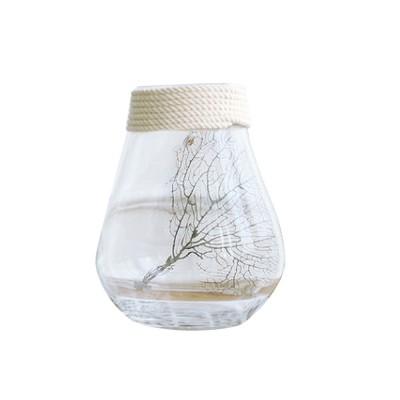 Transparent Glass Vase With Hemp Rope, Household Furnishings Decorative Vase