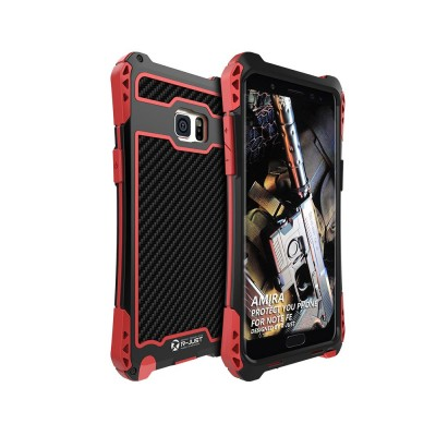 Chinese Style Zinc Alloy Phone Case, with Carbon Fiber and Tempered Glass for Galaxy Note FE