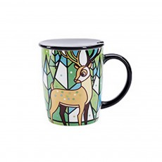 Animal Print Mugs, High Capacity Ceramic Tea Mug With Spoon