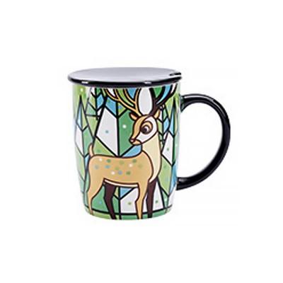 Animal Print Mugs, High Capacity Ceramic Tea Mug With Spoon