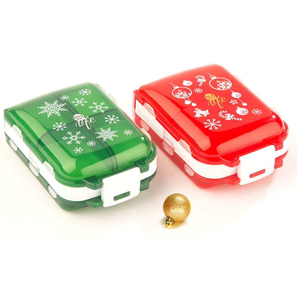 Christmas Pill Boxes, 3-Layer 8-Grid Mini Weekly Pill Case, Pack of 2