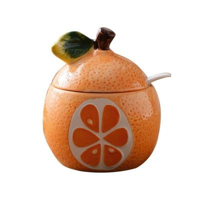 Ceramic Spice Jars With Lids, Cute Fruit Seasoning Jar For Placing Chili, Sugar, Salt