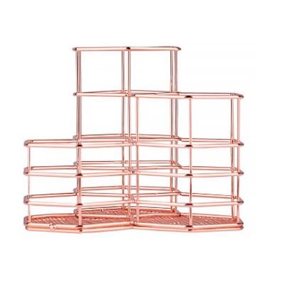 Metal Wire Hexagon Shelves, Desktop Storage Book Rack Penholder