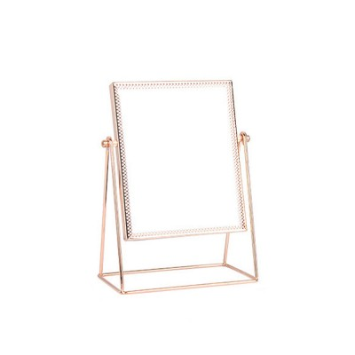 Champagne Gold Mirror with Copper Frame & Flocking Back, Elegant & Vintage Vanity Smooth Mirror
