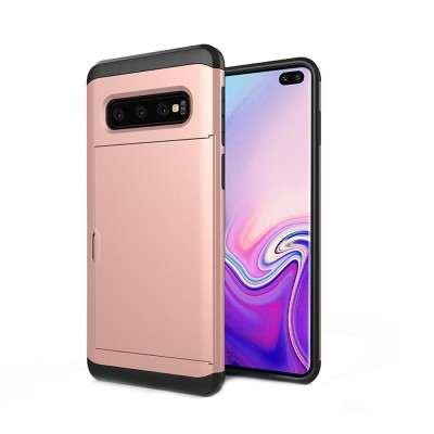 Protective Hard Shell for Samsung Galaxy S10, Phone Case Wallet Credit Card Holder with Sliding Door