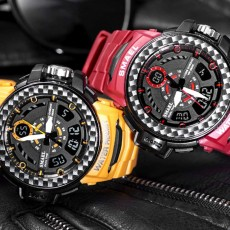Digital Watches with Resin Strap Multifunctional Watch Supporting Luminous Mode 50 Meters Water-poof & Alarm Clock