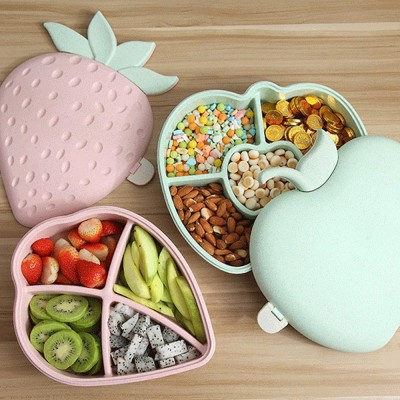 Plastic Snack Containers With Lids, Strawberry And Apple Shape Candy Box