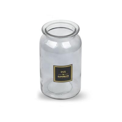 Transparent Glass Cylindrical Vase With Non-Slip Bottom