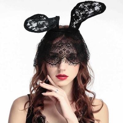 Women Lace Nightclub Party Headwear with Rabbit Ears Design ...