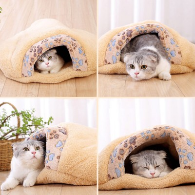 Brown Cat Sleeping Bag, with Soft Velveteen, Printed Coral Fleece, Three-dimensional PP Cotton, a Nest of Two Uses, Cat Mat