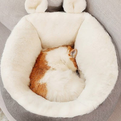 Removable and Washable Pets Sleeping Bags, Ear Shaped Cat Room with Embroidery Printing Design