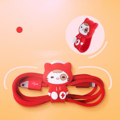 Cute Earphone Cable Protector, Lovely Cartoon Shape Winder, with Metal Hidden-interlocking