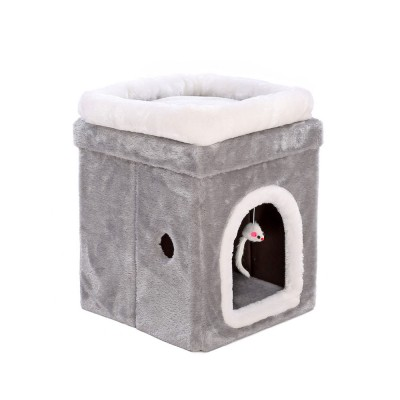 Cat House Fur Material Cube for Pet Cat Home with Attract Mouse, Folding Cattery Double Layers Cat Nest