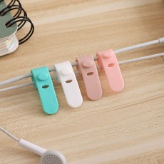 Silicone Earphone Wire Organizer, 4 Pcs Reusable Fastening Cable Strap with Snap Joints Design