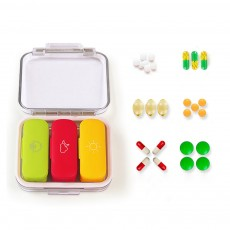 Daily Pill Organizer 3 Times A Day, With 3 Removable Inner Silicone Tablet Medicine Storage Box