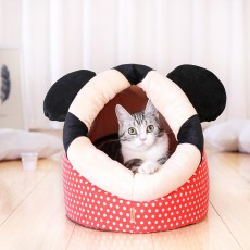 Cartoon Spotty Cat House, with Red Mickey Design, High-quality Canvas, Short Plush and Plastic Oxford Cloth