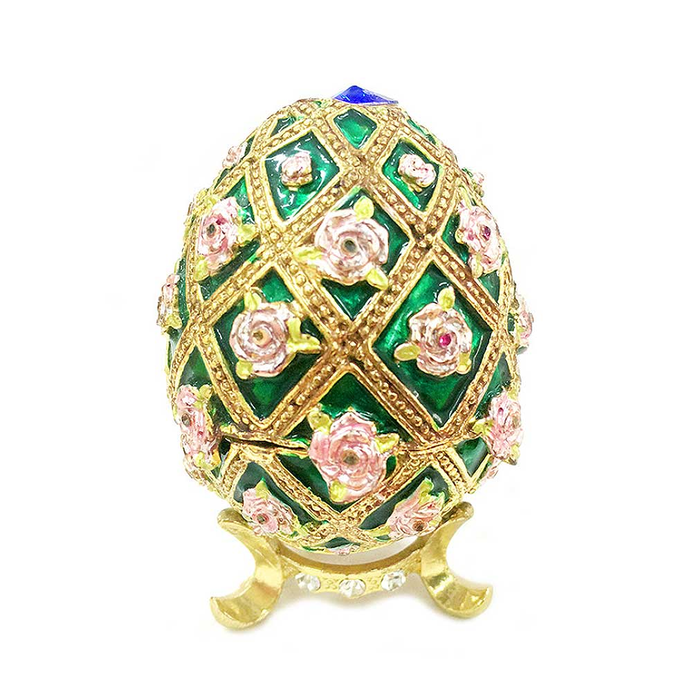 Zinc Alloy Jewelry Box with Egg Shape, Luxuriant Birthday Gift Box with Rich Enamel and Sparkling Rhinestones