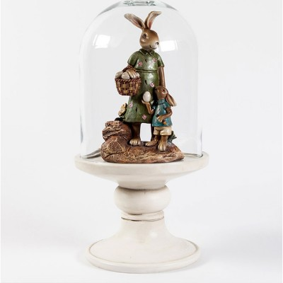 Easter Bunny in Glass Cloche, Glass Cover Rabbit Decoration On Pedestal Base