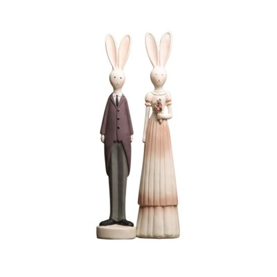 Resin Bunny Couple Decorations, Creative Easter Gifts for Kids