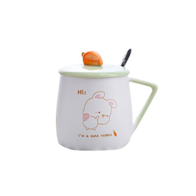 Ceramic Cups Lovely Mug Korean Style Couples Mug Lovely Breakfast Milk Cup Of Coffee Cups Porcelain Teacups Water Bowl With Cover And Spoon