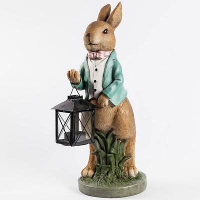 Hand-painted Easter Bunny Lantern, Resin Boy Rabbit Lantern