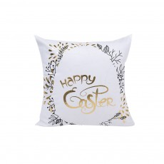 Delicate Easter Pillow Slip with English Letter Rabbit Pattern Hot Stamping, Ultrasoft Polyester Minimalist Fancy Pillowcase for Easter Day