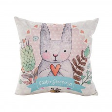Cute Rabbit Pattern Linen Pillowcase without Pillow Core, Colorful Digital Painting Carton Soft Breathable Fabric Bolster Pillow Slip