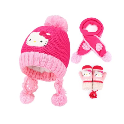 a98922259 Cute Warm Children Beanie Cap Scarf Gloves 3 Pcs Suit with Hello Kitty  Model, Pretty
