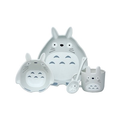 Cute Creative Carton Animal Model Ceramics 4PCS Tableware Suit, Functional Fancy Bowl Cup Spoon Dish Set for Children
